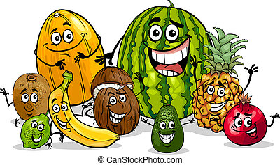 tropikalny, grupa, rysunek, ilustracja, owoce