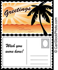 tropikalny, kartka pocztowa, krajobraz