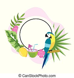 tropikalny, koło, kwiaty, emblemat, papuga
