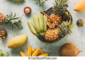 tropikalny, kosz, dojrzały, owoce
