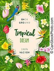 tropikalny, lato, projektować, tło