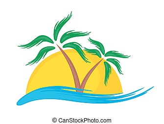 tropikalny, logo, island.