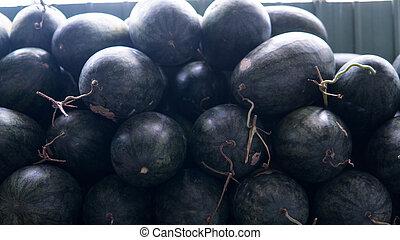 tropikalny, market., owoc, asian, owoce
