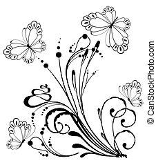 tropikalny, motyl, kwiaty