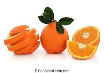 tropikalny, pomarańcza, owoc