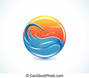 tropikalny raj, plaża, lato, słoneczny, logo
