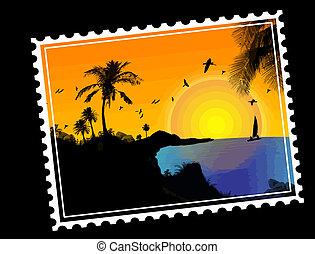 tropikalny, tłoczyć, pocztowy, raj
