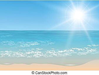 tropikalny, wektor, sea.