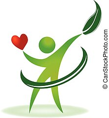 troska, logo, zdrowie, serce, natura
