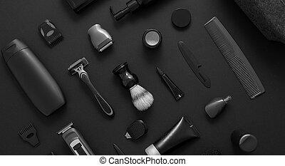 troska, mężczyźni, przybory, golenie, czarnoskóry, concept., piękno, umieszczony, bauty, różny, tło, zdrowie