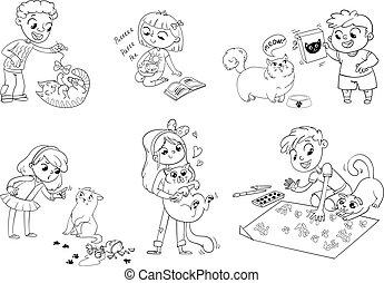 troska, wektor, cat., ilustracja, dziecko