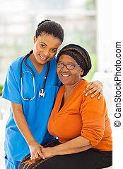 troszcząc, pacjent, afrykanin, senior, pielęgnować