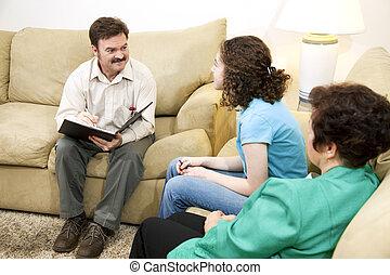 troszcząc, terapeuta, rodzina