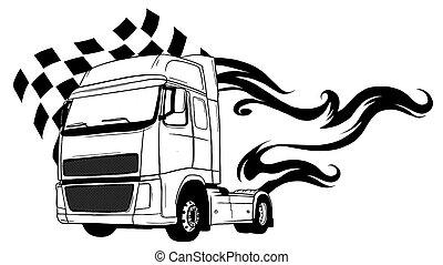 truck., rysunek, projektować, pół, wektor, ilustracja