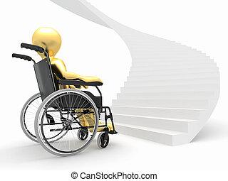 trudny, wheelchair, mężczyźni, decyzja, schodki.