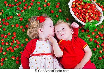 truskawka, jedzenie, dzieci