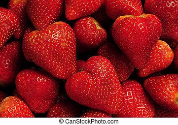 truskawki, stos, czerwony