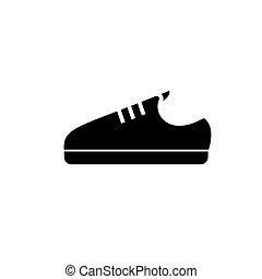 trzewik, ilustracja, odizolowany, znak, wektor, czarny bucik, tło, ikona