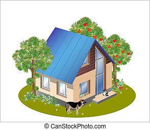 trzy, dom, rozmiary, wzór, rodzina