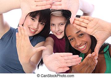 trzy, kultura, student, etniczny, zabawa, drużki