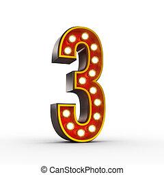 trzy, liczba, światła, jarzący się, retro, wystawa