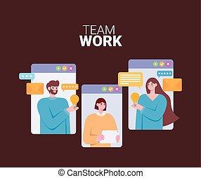 trzy, online, pracujący, osoby
