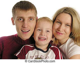 trzy, rodzina, odizolowany