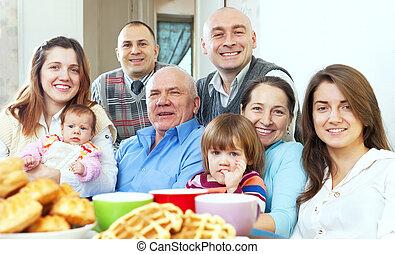 trzy, rodzina, szczęśliwy, generacje, wielki