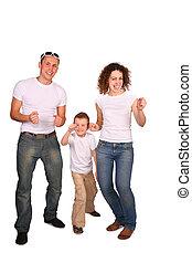 trzy, rodzina, taniec