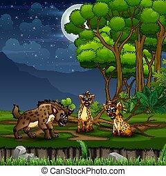 trzy, rysunek, krajobraz, las, hiena