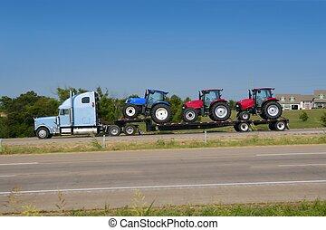 trzy, wózek, traktor, rolnictwo, ciężarówka, przewóz