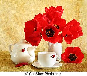 tulipany, życie, wciąż, czerwony