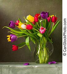 tulipany, barwny, nieruchome życie
