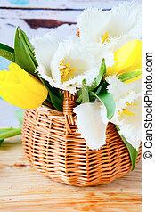 tulipany, kwiaty, kosz, wiosna