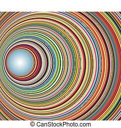 tunel, koła, abstrakcyjny, barwny