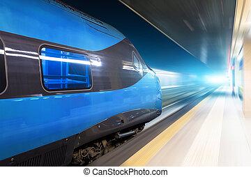 tunnel., zmarszczenie, wysoki, jarzący się, pociąg, noc, jeżdżenie, szybkość