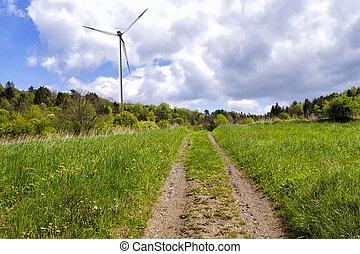 turbina, elektryczność, produkcja, wiatr