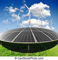 turbina, słoneczny, wiatr, poduszeczki