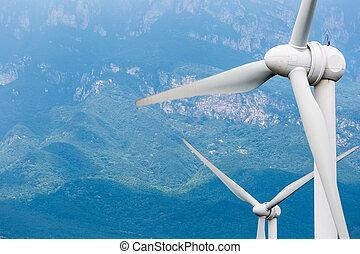 turbiny, closeup, wiatr