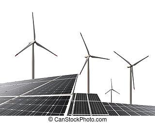 turbiny, wiatr, poduszeczki, słoneczny