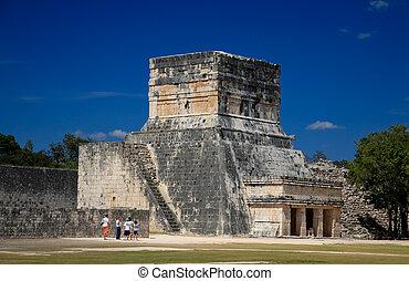 turyści, to, mexico:, odwiedzając, itza, atrakcja, feb, 2009, 19, chichen, górny, meksyk