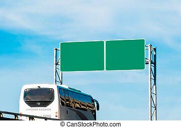 turysta, autobus, znak, handel, czysty, zielony, droga