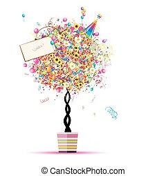 twój, balony, święto, zabawny, drzewo, szczęśliwy, garnek, projektować
