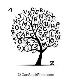 twój, beletrystyka, sztuka, drzewo, projektować, alfabet