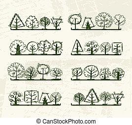 twój, drzewa, pozbywa się, rys, projektować