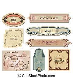 twój, etykiety, wektor, komplet, rocznik wina, design.