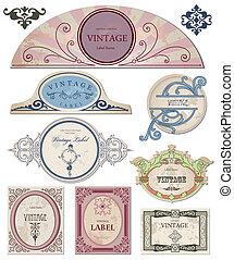 twój, etykiety, wektor, rocznik wina, zbiór, design.