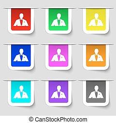 twój, etykiety, wielobarwny, sylwetka, wektor, poznaczcie., ikona, komplet, człowiek, handlowy, nowoczesny, design., garnitur