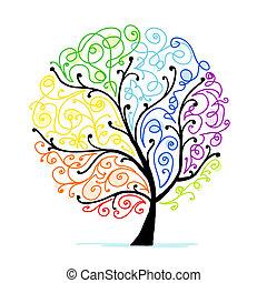 twój, sztuka, drzewo, projektować