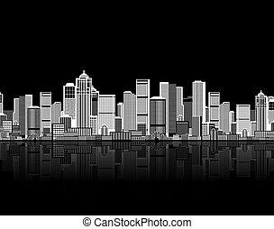 twój, sztuka, tło, seamless, cityscape, miejski zamiar